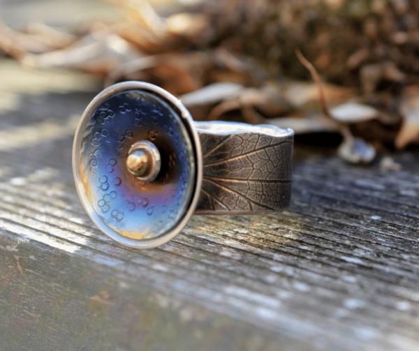Zilveren ring met titanium en bolletje van goud