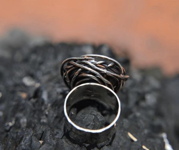 handgemaakte zilveren ring met crazy lace agaat
