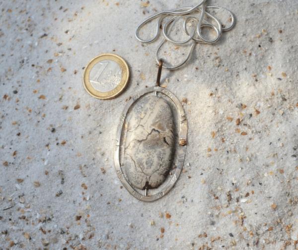 Zilveren hanger met Landschapsjaspis