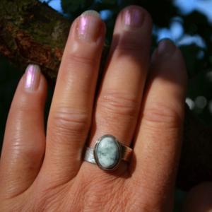 Asymmetrische zilveren ring met goud en boomagaat