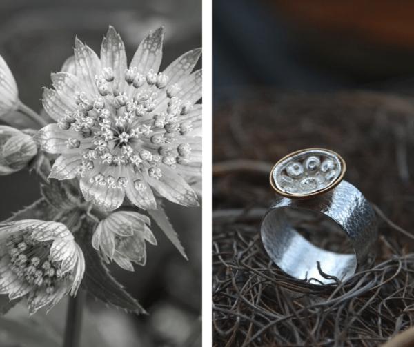 Zilveren ring met Goese knoop