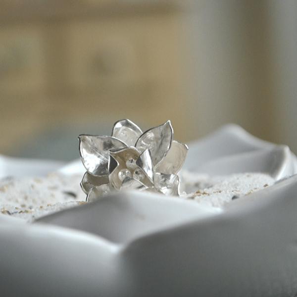 Bloemenring zilver handgemaakt