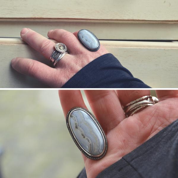 Zilveren ring met witte agaat