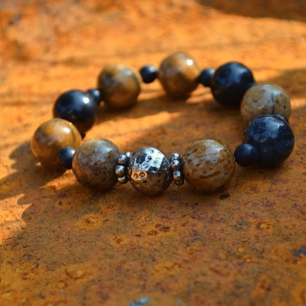 Armband versteend hout met zilver