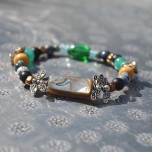 Armband met Abalone schelp en multimix (edelsteen) kralen