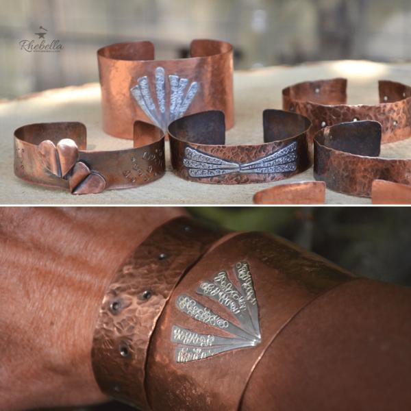 Hangemaakte armband van koper met decoratie van sterling zilver
