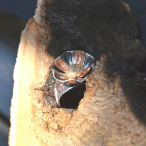Bloemenring van zilver met koper en 14k goud