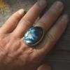 Grote zilveren ring met Labradoriet handgemaakt