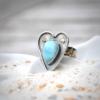 Ring Heart handgemaakt van zilver, goud en Larimar