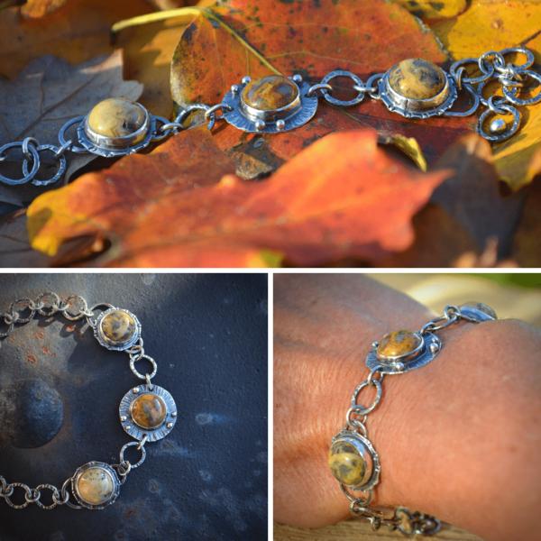 Handgemaakte armband van zilver met crazy lace agaat