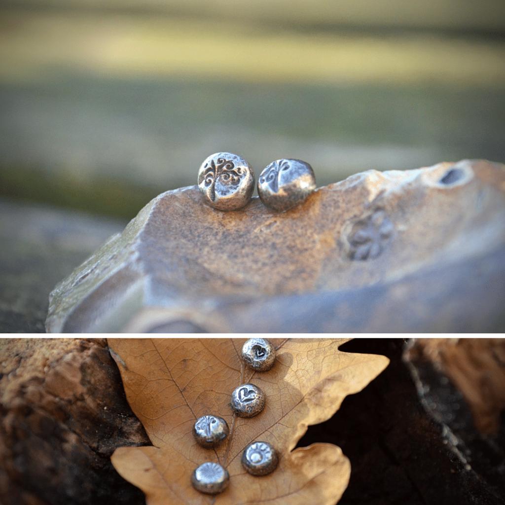 """Oorknopjes """"fossils and hearts"""" handgemaakt van zilver"""