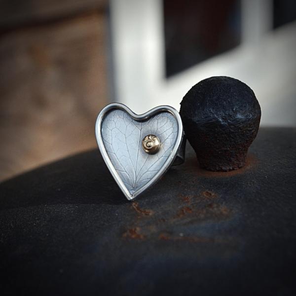 Handgemaakte ring van zilver --let your heart shine--