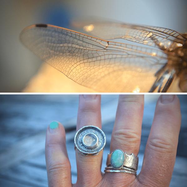 Handgemaakte unieke ring zilver met libellevleugel