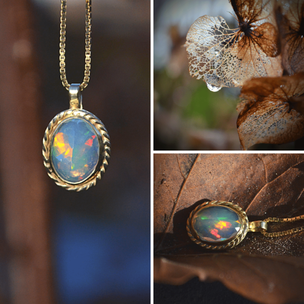 hanger van goud met opaal handgemaakt