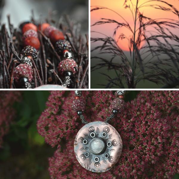 Mandalahanger van koper met maansteen en diverse mooie (edelsteen) kralen.