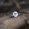 Ring van zilver met bij en detail honingraat van goud.